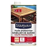 STARWAX Huile Protectrice Teck & Bois Exotiques pour Mobilier de Jardin - 1L - Idéal pour Nourrir en Profondeur, Préserver du Dessèchement et du Grisaillement