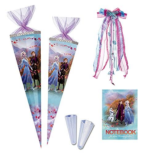 Nestler Juego de bolsas escolares para rellenar, de cartón, diseño de Frozen 2, incluye protector de punta, lazo (85 cm, 12 rectangulares con purpurina y cuaderno)