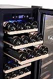 BODEGA43-24 Weinklimaschrank - Weinkühlschrank mit 2 Zonen, 5-20 ºC, 80 Liter, 24 Flaschen, 6 Regaleinschübe, Vollglas-Designtür mit Touchpanel, Geräuscharm (39 dB) & sehr vibrationsarm, Schwarz - 4