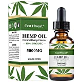 ECO Finest 5000mg Hemp Oil Extract for Pain & Stress Relief - 5000mg of Pure Hemp Extract - 100% Natural Hemp Drops - Helps with Sleep, Skin & Hair