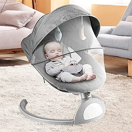 ZYLHC Electric Baby Swing Bouncer Chair Cradle with 5M Remote Control IMD Smart Touch Panel Infant Swing 5 Levels of Swing Adjustment One Key Sleep Function