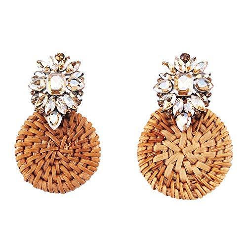 XIANGAI Elegant Crystal Flower Drop Earrings Women Boho Ethnic Bamboo Statement Earrings Handmade Rattan Knit Jewelry Accessory Wedding #19