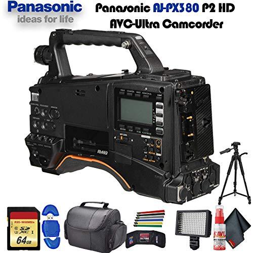 New Panasonic AJ-PX380 P2 HD AVC-Ultra Camcorder (AJ-PX380G) with Tripod, Padded Case, LED Light, 64...