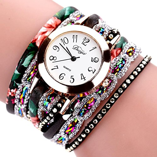 Hunputa 2016 New Watches Women Flower Popular Quartz Watch Luxury Bracelet Women Dress Lady Gift Flower Gemstone Wristwatch (Black)