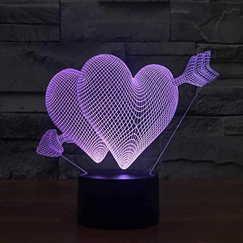 Yyhmkb Con Enchufe Reacondicionado Led Habitacion Giratoria Cosmos Día De San Valentín Una Flecha A Través Del Corazón Toque De Luz Siete Colores Luz Ilusión Atmósfera Lámpara De Mesa Regalo