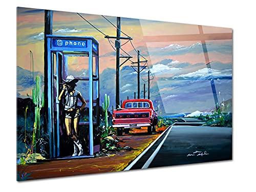 Declina - Reproducción de pintura Rider Girl con impresión de plexiglás, marco...