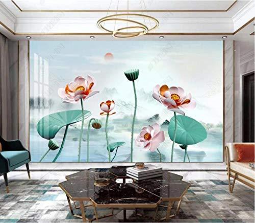 Papel Pintado 3D Paisaje loto hoja de loto loto Fotomurales Pared Dormitorio Papel Pintado Fotográfico Mural Decoración