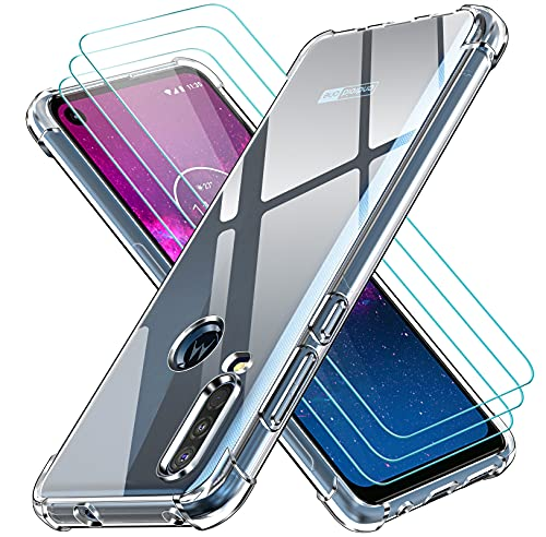 ivoler Klar Hülle für Motorola One Action mit 3 Stück Panzerglas Schutzfolie, Dünne Weiche TPU Silikon Transparent Stoßfest Schutzhülle Durchsichtige Kratzfest Handyhülle Hülle