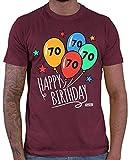 Hariz – Camiseta para hombre, diseño de globos con texto 'Happy Birthday', 70 cumpleaños serenos, incluye tarjeta de regalo Rojo vino. L