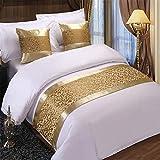 Luxus Jacquard Bett Runner Bett dekorative Schal Tagesdecken Patchwork Throw Bettbezüge für Schlafzimmer Hotel Hochzeitszimmer,Gold-50X210cm for 1.5m Bed