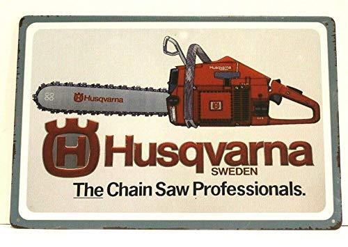Husqvarna - Cartel de metal con diseño de motosierras (40 x 30 cm)