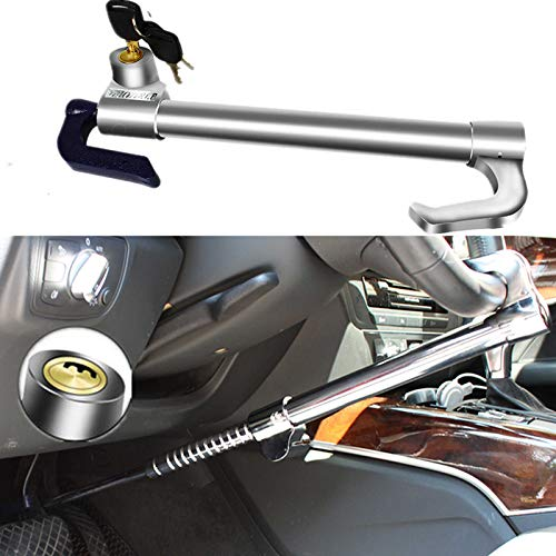 Turnart Antifurto Universale Defender, Auto Blocco del Pedale Realizzato in Acciaio Inossidabile con 3 Chiavi (Argento)