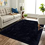 Extra Soft Fluffy Area Rug for Living Room ,5x8 Dark Navy Shag Rugs for Bedroom ,Shaggy Carpet for Kids Teens Girls Boys Anti-Skid Nursery Fuzzy Furry Comfy Cozy Accent Modern Home Decor Indoor Mat