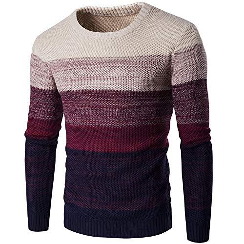 Suéter para Hombre Slim Fit Cuello Redondo Color a Juego Moda Streetwear Casual Todo-fósforo Jersey básico de Manga Larga XXL