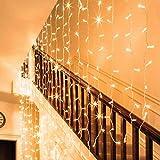Auhavor Luces de cortina 594 Luces de cuerda Ventana de cortina de hadas 8 modos Luces centelleantes Luces de cuerda blancas cálidas Luces decorativas de interior impermeables de interior para...