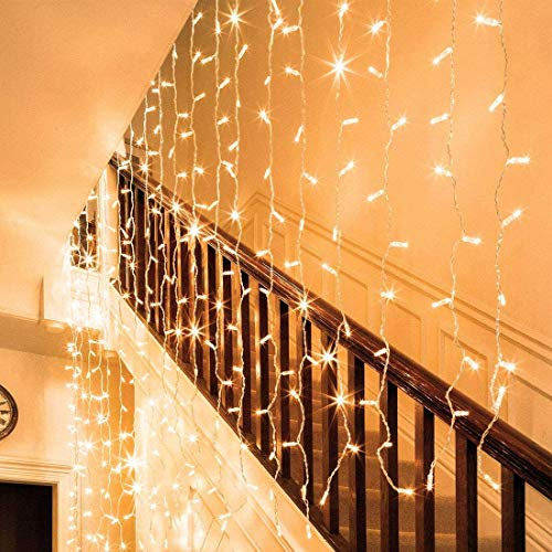 Auhavor Curtain Lights 594 String Lights Fairy Curtain Window 8 Modes Twinkle Lights Warm White String Lights Waterproof Decorative Indoor Outdoor String Lights for Bedroom, Patio, Parties, Weddings