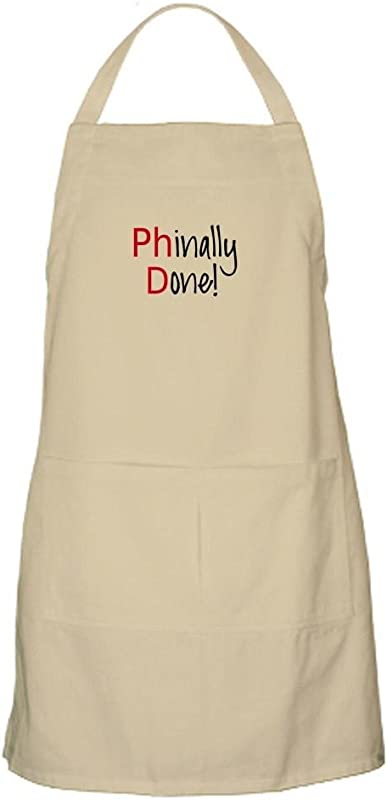 CafePress Phinally Done PhD Graduate Apron Kitchen Apron With Pockets Grilling Apron Baking Apron