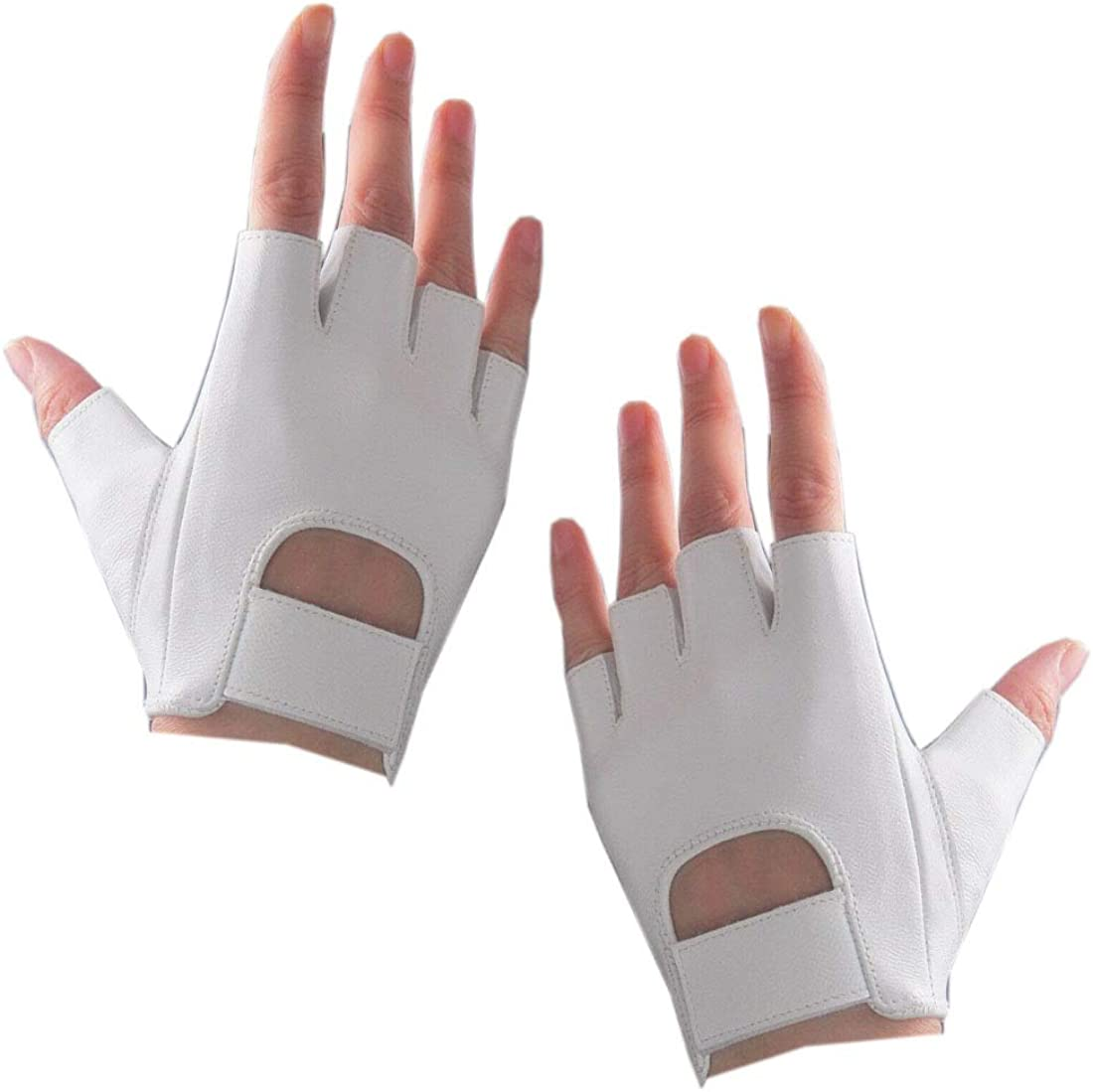 Fingerless Tactical Gloves for Men Women Genuine Leather Army Hunting Shooting Motorcycle Driving Cycling Biker White