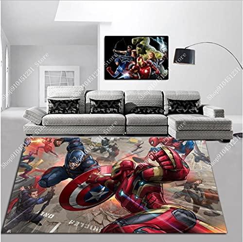 WPCheng Los Vengadores Marvel Team Superhéroe Puerta Alfombra Capitán América Spiderman Alfombra Piso Dormitorio Felpudo Alfombra Antideslizante Regalo De Dibujos Animados C-422Q 140X200Cm