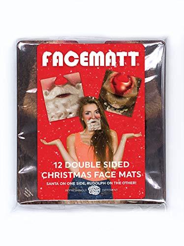 """Brainbox Candy - Lustiges 12 Stück doppelseitiges Weihnachts-""""Facematt"""" – Neuheit Party-Geschenk – lustiges Weihnachtsgeschenk – tragbare alberne Gesichter – Bier-Getränkematte"""