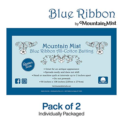 Mountain Mist Blue Ribbon All Cotton Batting 90 x 108 inches, Queen Size 2-Pack