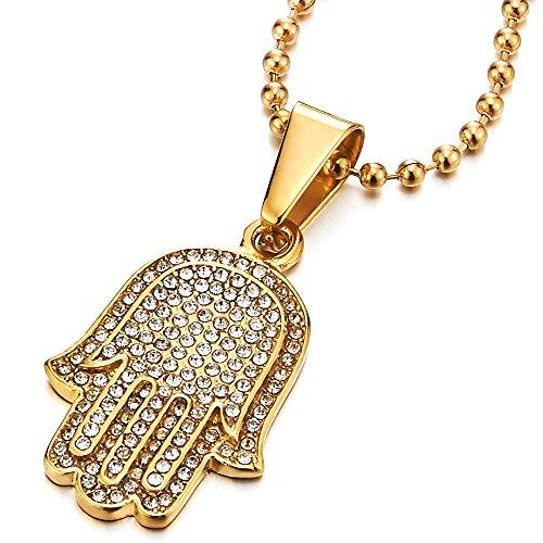 COOLSTEELANDBEYOND Oro Hamsa Mano de Fátima, Protección Colgante con Zirconio Cúbico, Collar Mujer Hombre, Acero, Bola Cadena 60CM