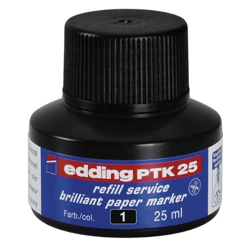 edding PTK25 Brilliant Paper Marker Nachfülltinte - Inhalt: 25ml - Farbe: schwarz - Tusche für edding Pigmentmarker (edding 30/33) - Extrem lichtbeständige Pigmenttinte