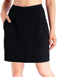 "Yogipace Women's 4 Pockets UPF 50+ 17"" Long Running Skirt Athletic Golf Skort with Tennis Ball Pockets Built in Shorts"