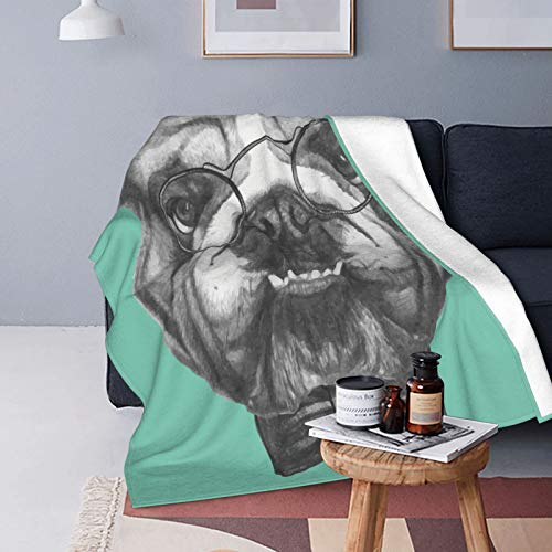 QINCO Suave Micro Lana Manta de Tiro Decor del Hogar,Retrato bosquejado de un Bulldog Inglés de Caballeros con Gafas,Ligero Sofá Cama Edredón de Franela,40' x 50'