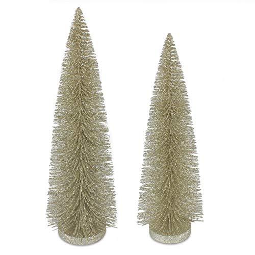 Binen - Mini albero di Natale con base in legno, mini albero di pino artificiale da scrivania, per Natale, feste, casa, tavolo e decorazione per albero di Natale (2 pezzi)