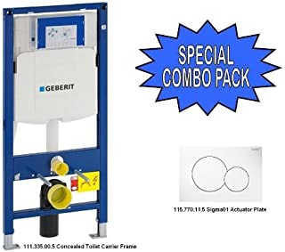 Geberit 111.335.00.5 In Wall Toilet Carrier Frame with Actuator Plate (Carrier with Sigma01 Actuator, White)
