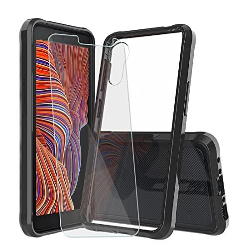 YundEU Hülle für Samsung Galaxy X Cover 5 + Panzerglas,Stoßfeste durchsichtige weiche Silikon Hartacryl schwarz [Kratzfest] Flex TPU Stoßstange Handyhülle Transparente Schutzhül,schwarz