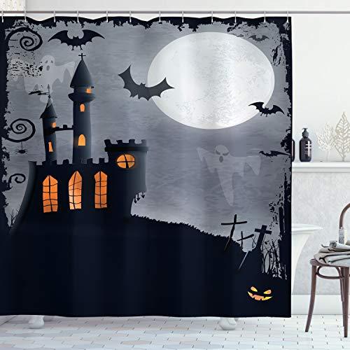 ABAKUHAUS Vintage Halloween Duschvorhang, Scary Fledermäuse Geister, mit 12 Ringe Set Wasserdicht Stielvoll Modern Farbfest & Schimmel Resistent, 175x180 cm, Schwarz Grau