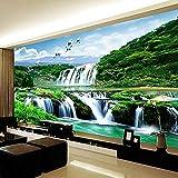 Murales de pared 3D Papel tapiz Pintura HD Cascada Naturaleza Paisaje Sala de estar Sofá TV Telón de fondo Dormitor papel pintado pared dormitorio de estar sala de estar fondo No tejido-200cm×140cm