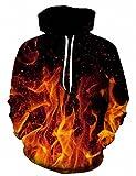 RAISEVERN Teens 3D Blaze Fire Flame Felpa con Cappuccio Pullover a Maniche Lunghe Maglioni per Donna Uomo attività all'aperto Indoor