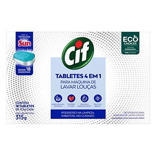 Tabletes 4 em 1 Cif Para Máquina de Lavar Louças 315g, Cif