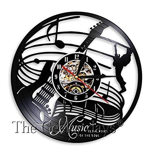 ZhaoCJB Vinyl Record Home Orologio da Parete Chitarra a Forma di Arte della Parete Strumenti Musicali a Tema Disco in Vinile Record Orologio da Parete Bizzarra Pop Shadow Arte da Parete Decorativa