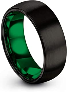 Tungsten Carbide Wedding Band Ring 8mm for Men Women Green Red Blue Purple Black Copper Fuchsia Teal Interior with Dome Brushed Polished