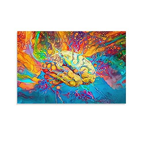 fengzhi Póster de lienzo psicodélico con diseño de BrainCanvas y cuadro de pared moderno para habitación familiar, 40 x 60 cm
