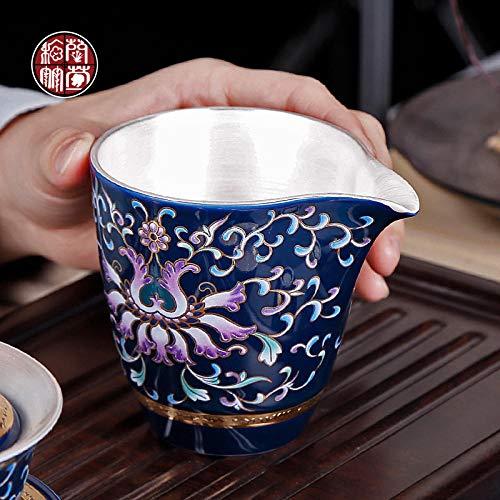 Taza de justicia de plata dorada esmaltada Jingdezhen divisor de té de plata esterlina de cerámica té azul azul y blanco antiguo azul verter taza pública grande