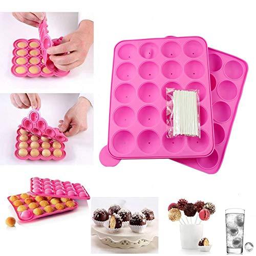 Moules à Pop Cake Muffins Bac à Glaçons Plaque en silicone pour Faire Lollipop Bonbon Gâteaux Pâtisserie 20 Moules + 120 Bâtonnets-Rose