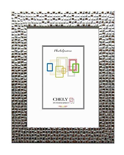 Chely Intermarket, Marco de Fotos 20x25 cm (Plata) Mod-215| Estilo galería | Marco de Madera para Decoración de Casa | Fotografías de Boda | moldura con Relieve.(215-20x25-0,55)