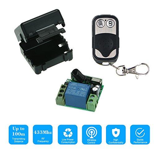 OWSOO Fernbedienung Schaltermodul Universal Smart Home 433 MHz DC 12 V 1CH Drahtloser Fernschaltrelais Empfänger Sender und 1 Stück RF Sender Fernbedienungen 1527, 1 Stück