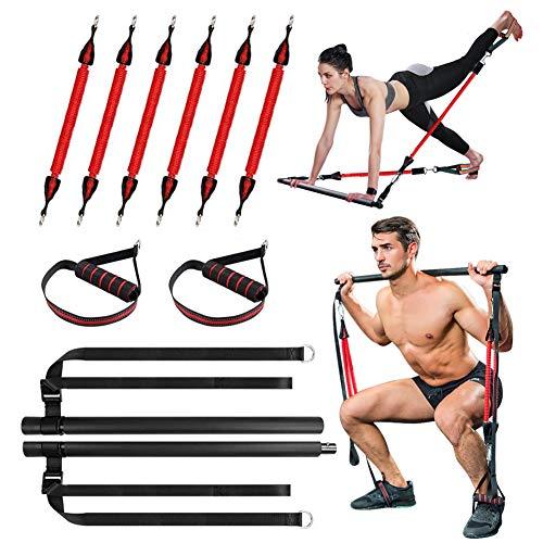 Gymstick Fitnessband Set Fitnessgerät Resistance Bands Fitness Trainingsgerät Gummiband Sport Gymnastikband Home Workout (Bauchtrainer, Po Trainer, Rückentrainer),Tragbares Pilates-Bar-System