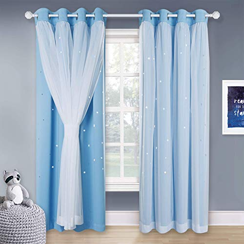 NICETOWN Nursery Curtains 84 inches Long, Kids Bedroom Double-Layer Thermal Insulated White Sheer x Twinkle Star Blackout Drapes (2 Pcs, Blue, Tie Backs Included)