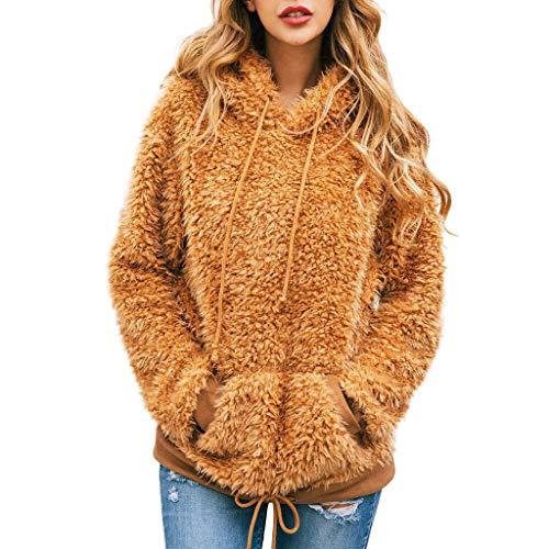 Felpe Donna con Cappuccio Tumblr Ragazza Eleganti Pullover Sweatshirt Borsa da Donna in Felpa con Cappuccio Manica Lunga Camicia in Flanella Camicia Superiore Tops Camicetta