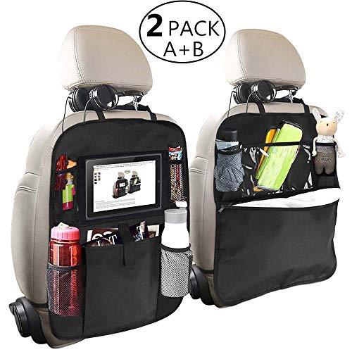 Backseat Car Organizer for Kids, OYRGCIK Kick Mats Back Seat Car Protector with Multi Pocket Storage Bag Holder for iPad Tablet Bottle Drink Tissue Box Toys Vehicles Travel Accessories (Black, 2 Pack)