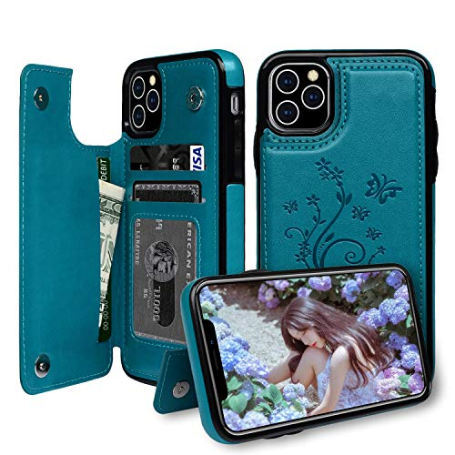 iPhone 11 Pro Max Case Wallet with Card Slots, Badalink Back Flip Case Magnetic Snap, Luxury Embossed Leather Protective Cover for iPhone 11 Pro Max 2019 6.5inch - Blue