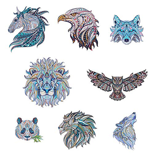 Calculs 3D Animal Heat Transfer Iron on Patch Heat Press Machine - 8 Pcs Large DIY Sublimation Transfer Patches for T-Shirts Jacket Tote Curtain, Panda Wolf Lion Eagle Owl Horse Sticker