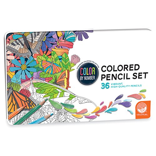 MindWare Color by Number Colored Pencils in a Tin Set of 36